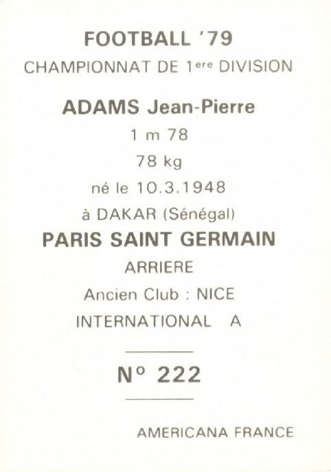 N° 222 - Jean-Pierre ADAMS (Verso)