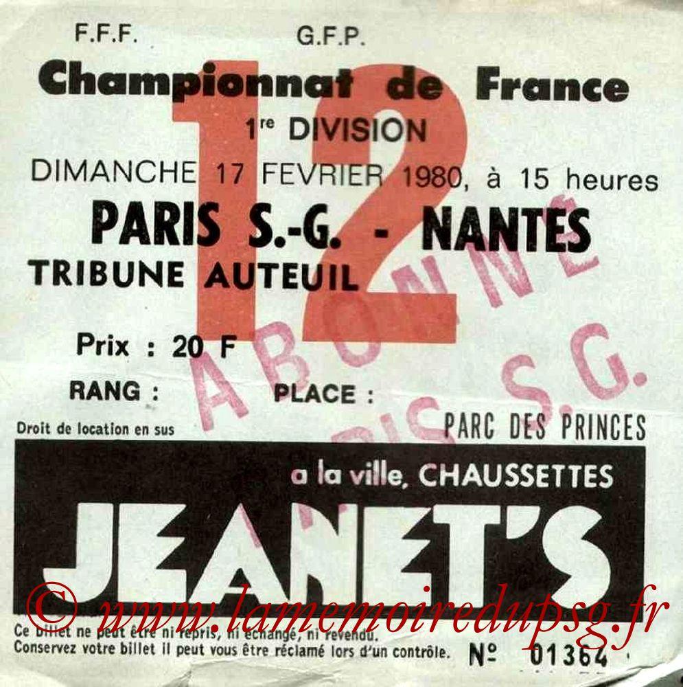 1980-02-17  PSG-Nantes (25ème D1, Ticket N°12)