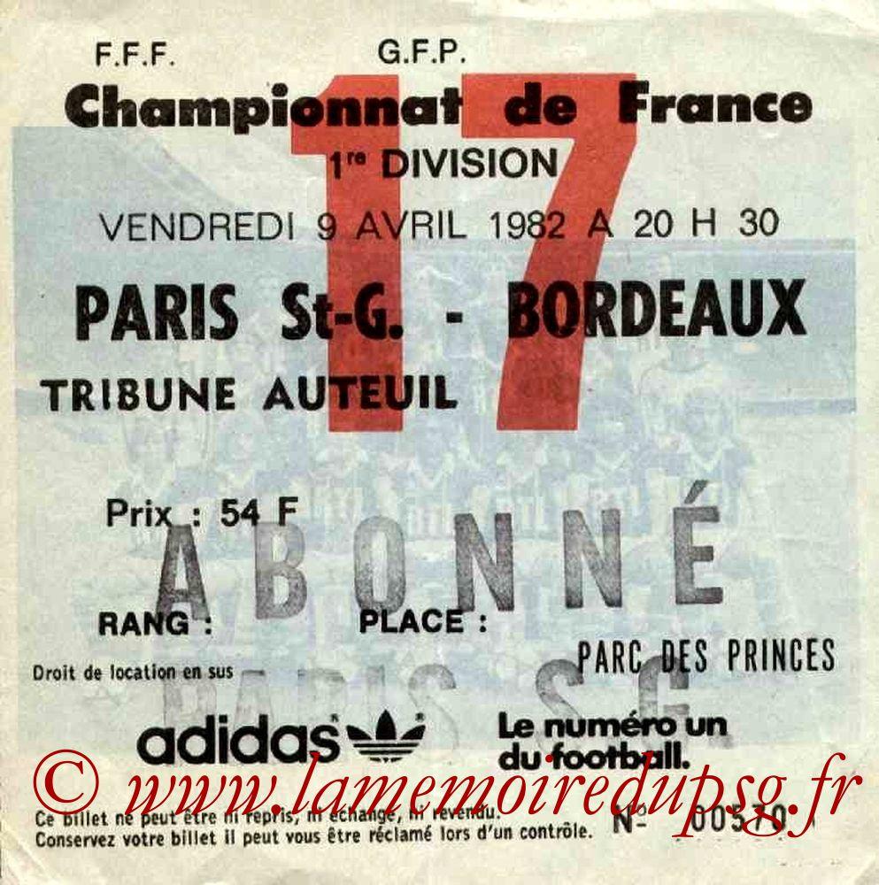 1982-04-09  PSG-Bordeaux (34ème D1, Ticket N°17)