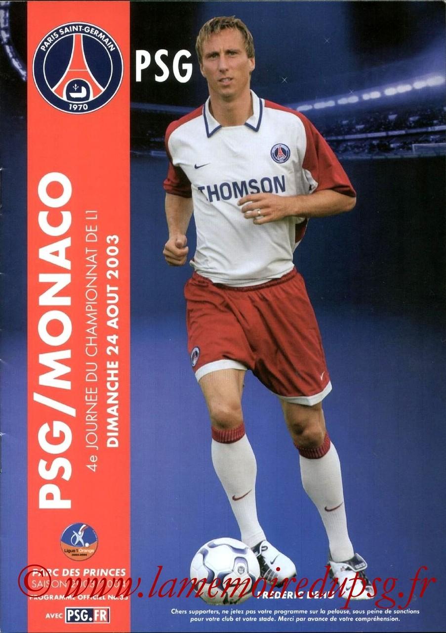 2003-08-24  PSG-Monaco (4ème L1, Programme officiel N°35)