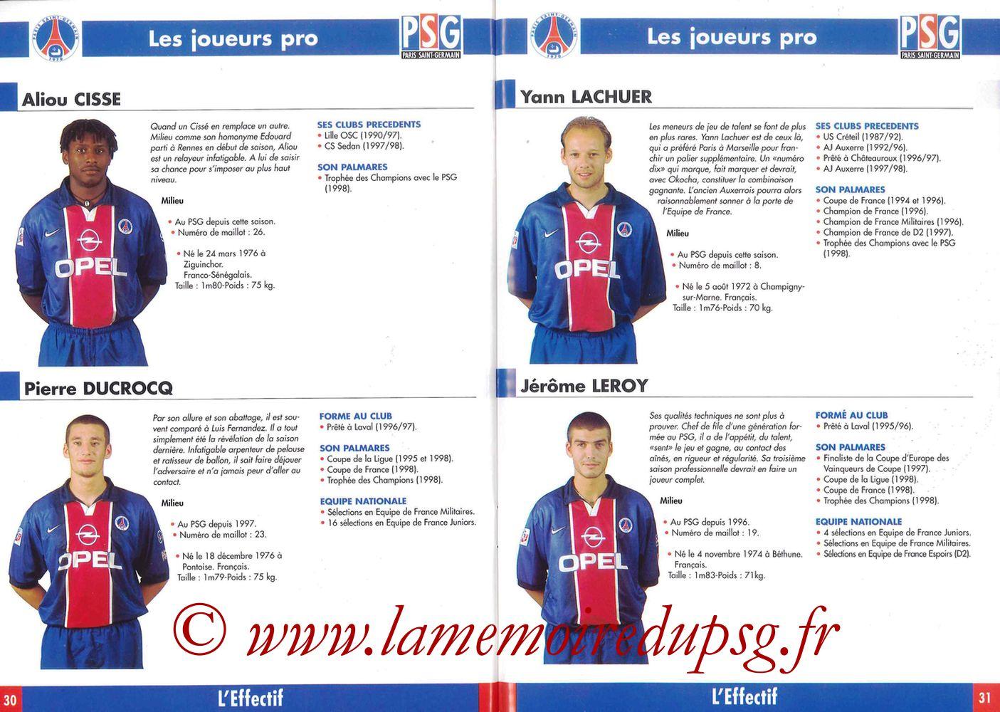 1998-99 - Guide de la Saison PSG - Pages 30 et 31