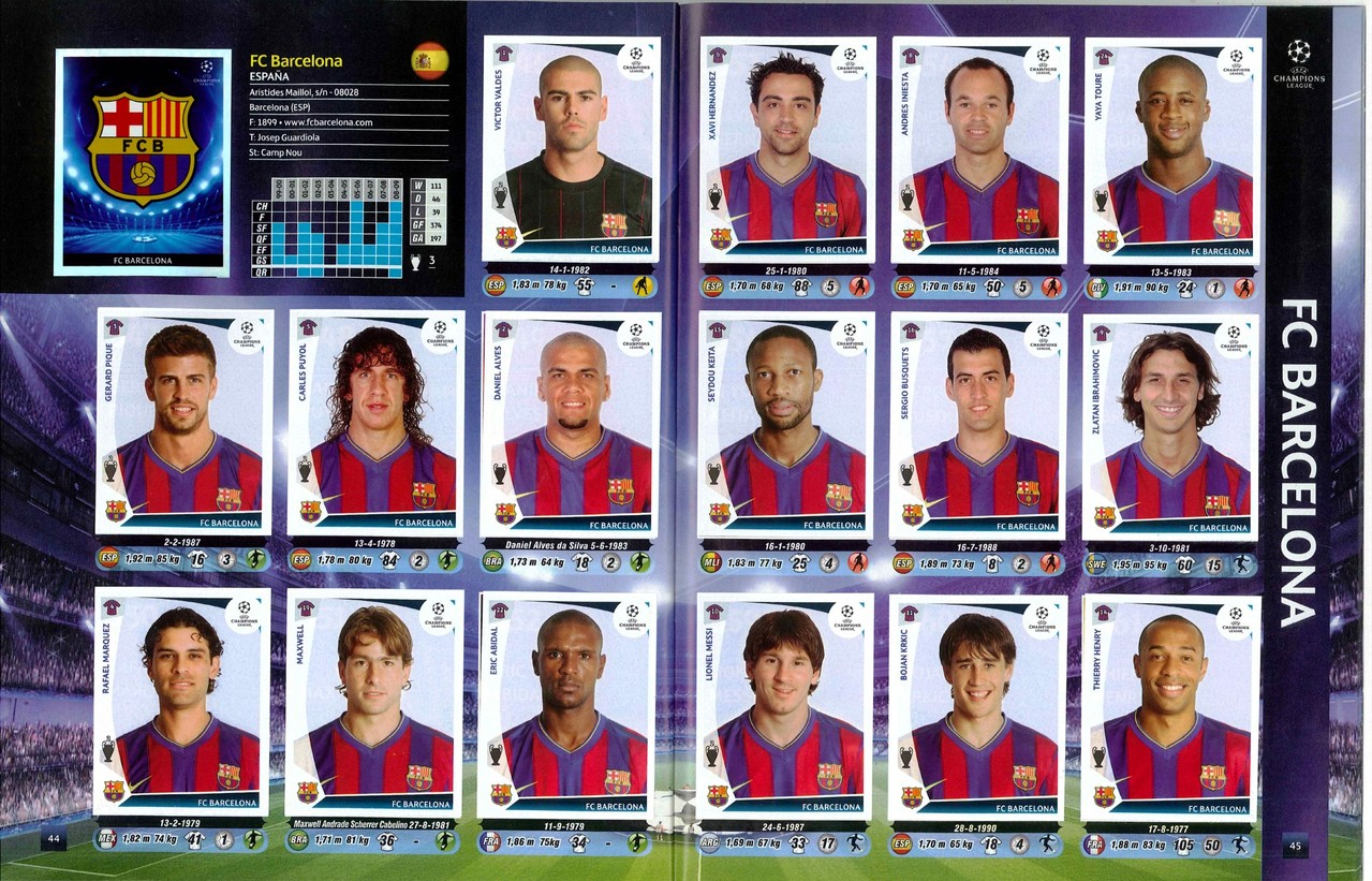 2009-10 - Panini Champions League - Pages 44 et 45 - FC Barcelona