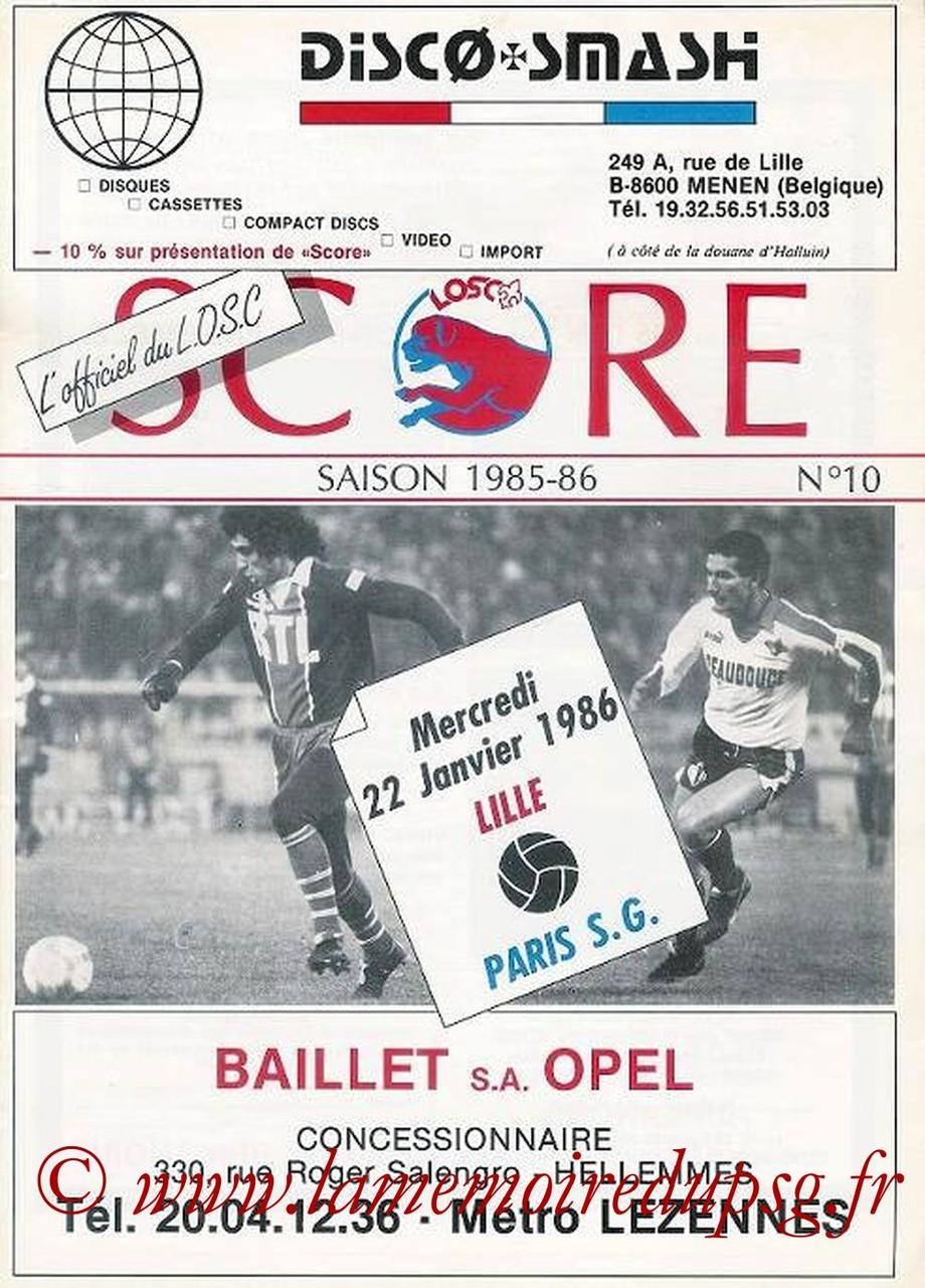 1986-01-22  Lille-PSG (20ème D1, Match rejoué, Score N°10)