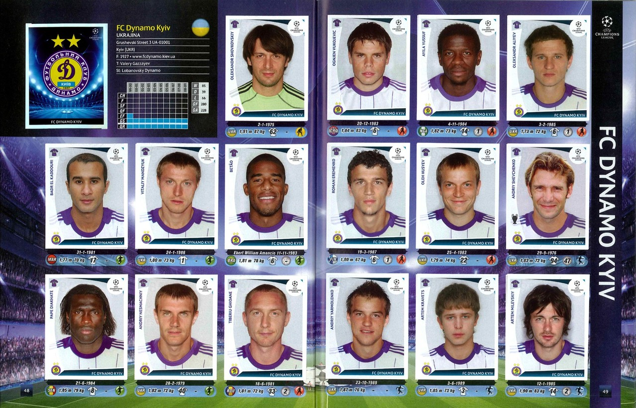 2009-10 - Panini Champions League - Pages 48 et 49 - FC Dynamo Kiev