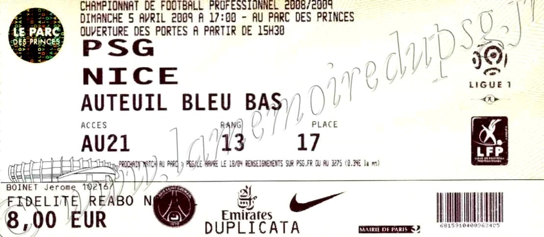 2009-04-05  PSG-Nice (30ème L1)