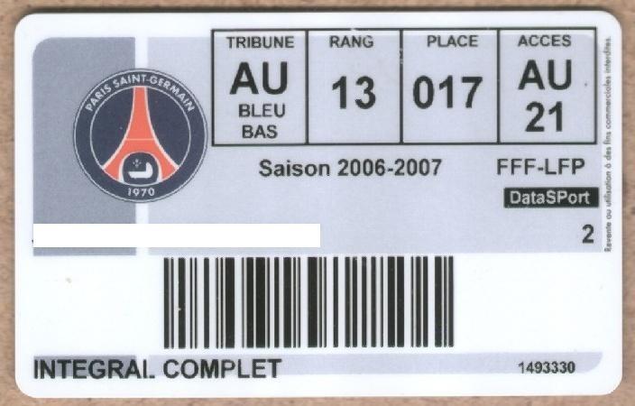 Carte d'abonné PSG 2006-07
