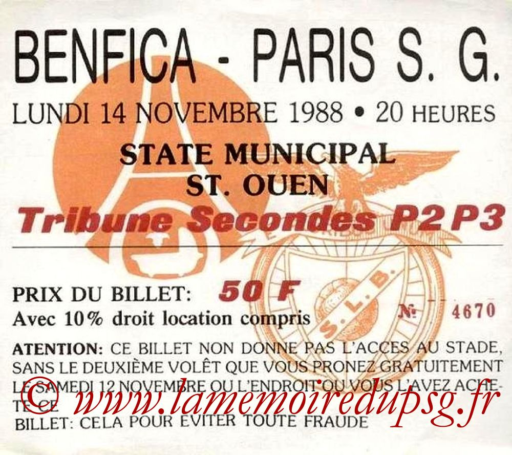 1988-11-14  PSG-Benfica (Amical à Saint Ouen)