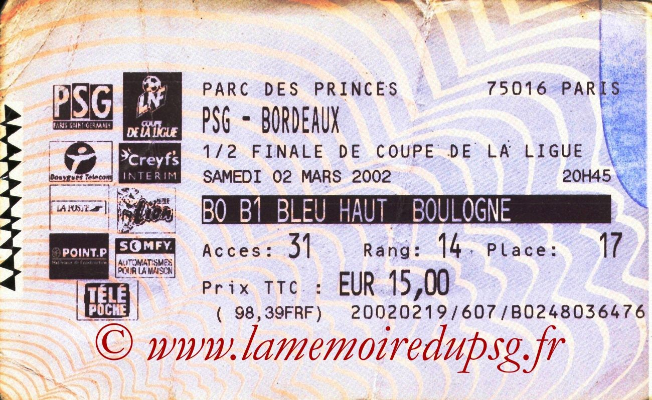 2002-03-02  PSG-Bordeaux (Demi-finale CL, Billetel)