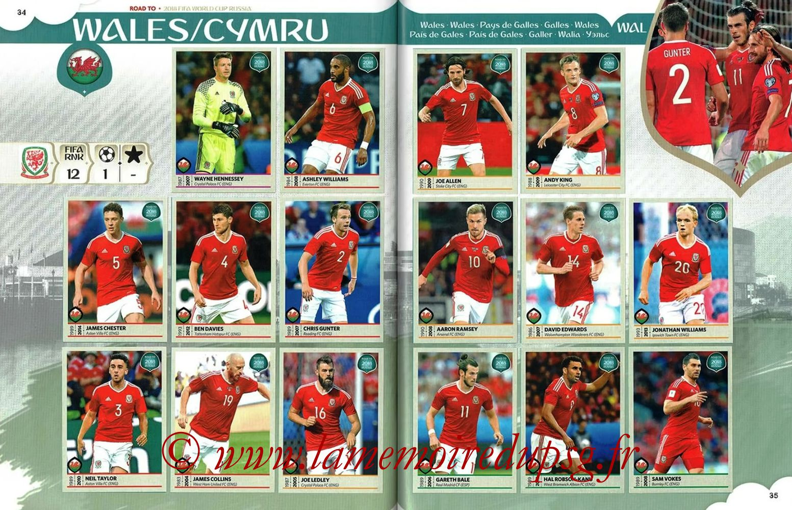 2018 - Panini Road to FIFA World Cup Russia Stickers - Pages 34 et 35 - Pays de Galles