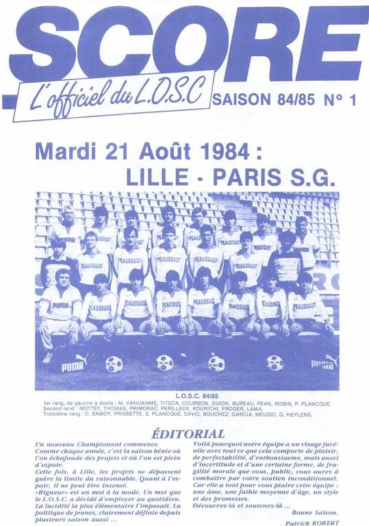 1984-08-21  Lille-PSG (2ème D1, Score N°1)