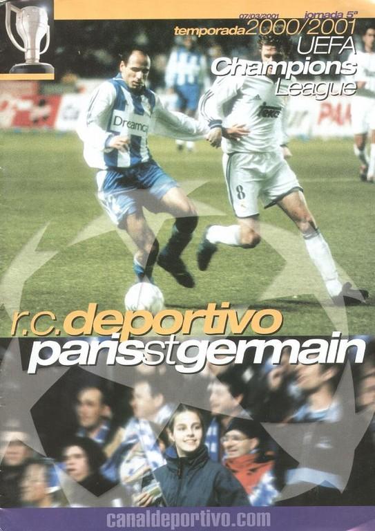 2001-03-07  La Corogne-PSG (5ème Poule C1, 2ème Phase, Programme officiel)