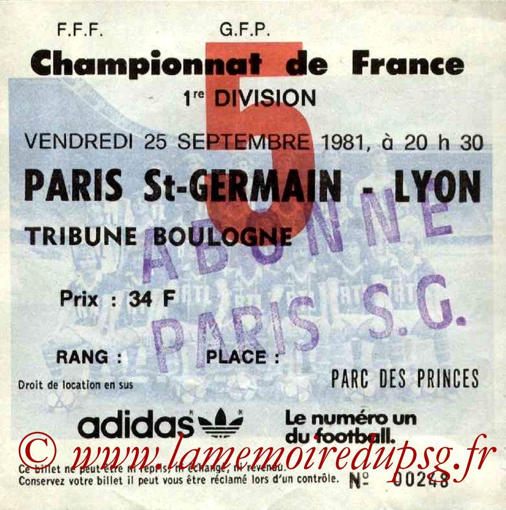 1981-09-25  PSG-Lyon (11ème D1, Ticket N°5)