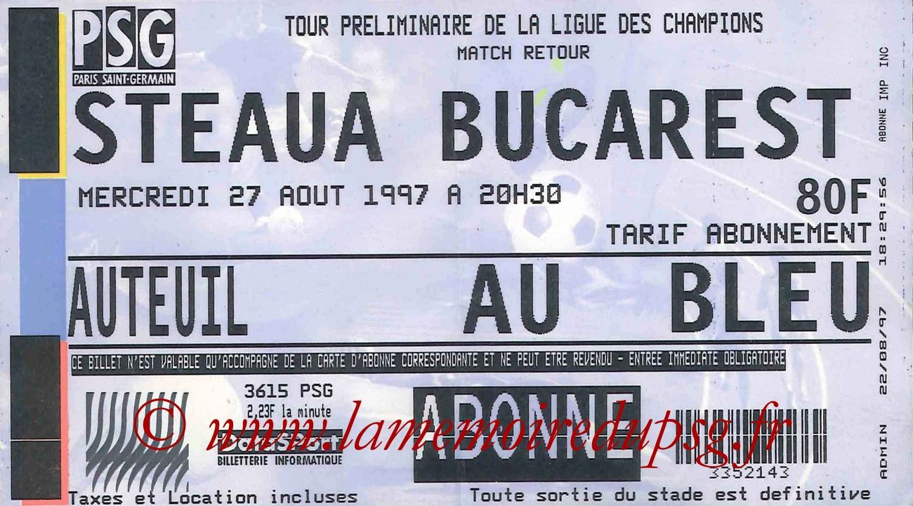 Tickets  PSG-Steaua Bucarest  1997-98