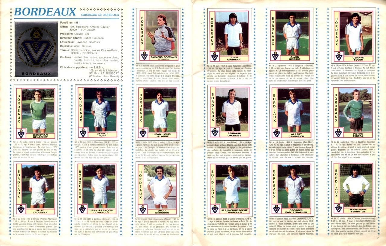 1979-80 - Panini 1980 - Pages 06 et 07 - Girondins de Bordeaux