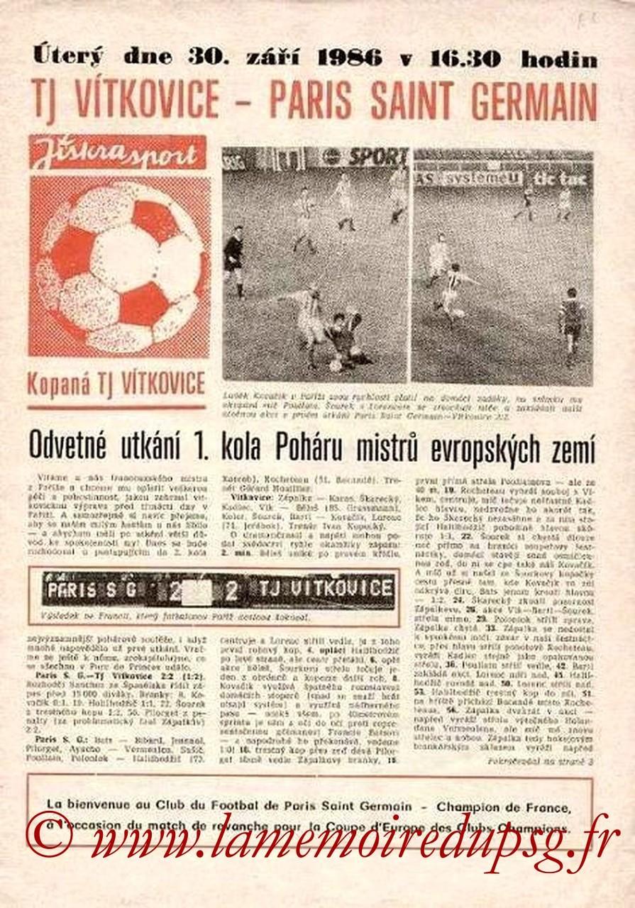 1986-09-30  Vitkovice-PSG (16ème Finale Retour C1, Programme officiel)