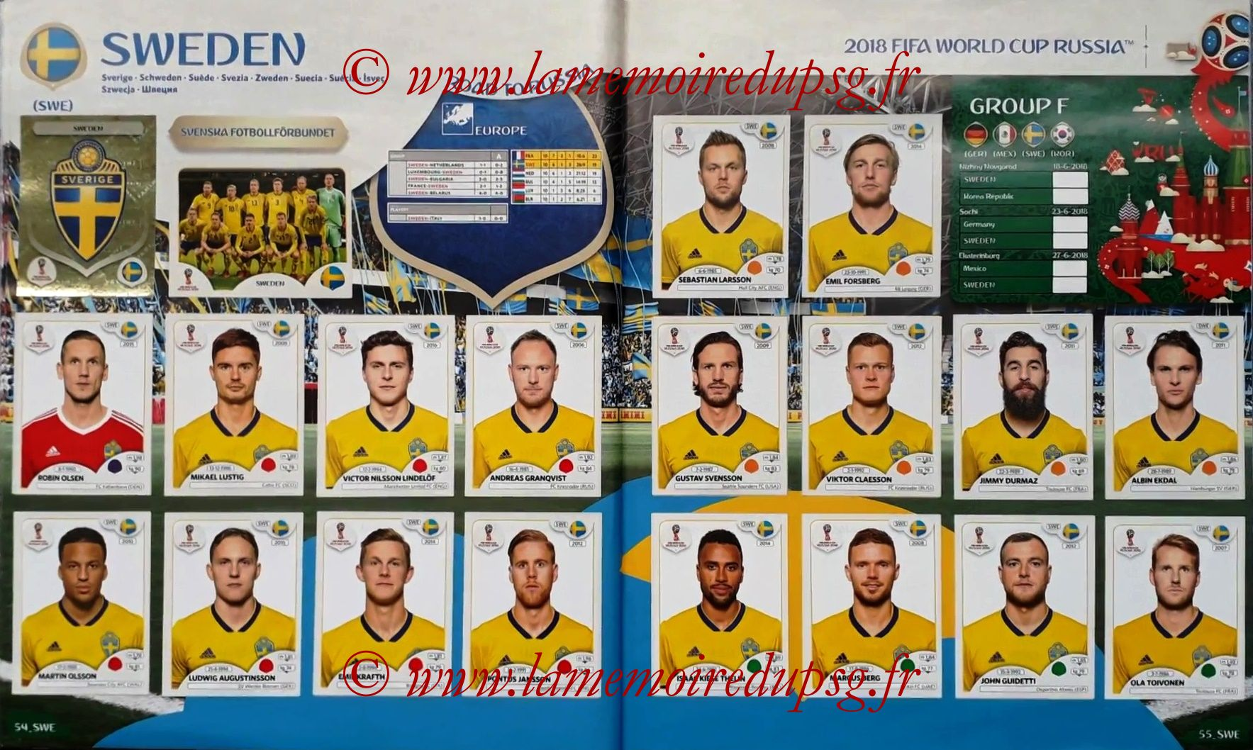 2018 - Panini FIFA World Cup Russia Stickers - Pages 54 et 55 - Suede