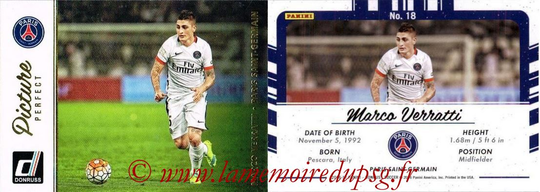 2016 - Panini Donruss Cards - N° PP18 - Marco VERRATTI (Paris Saint-Germain) (Picture Perfect)