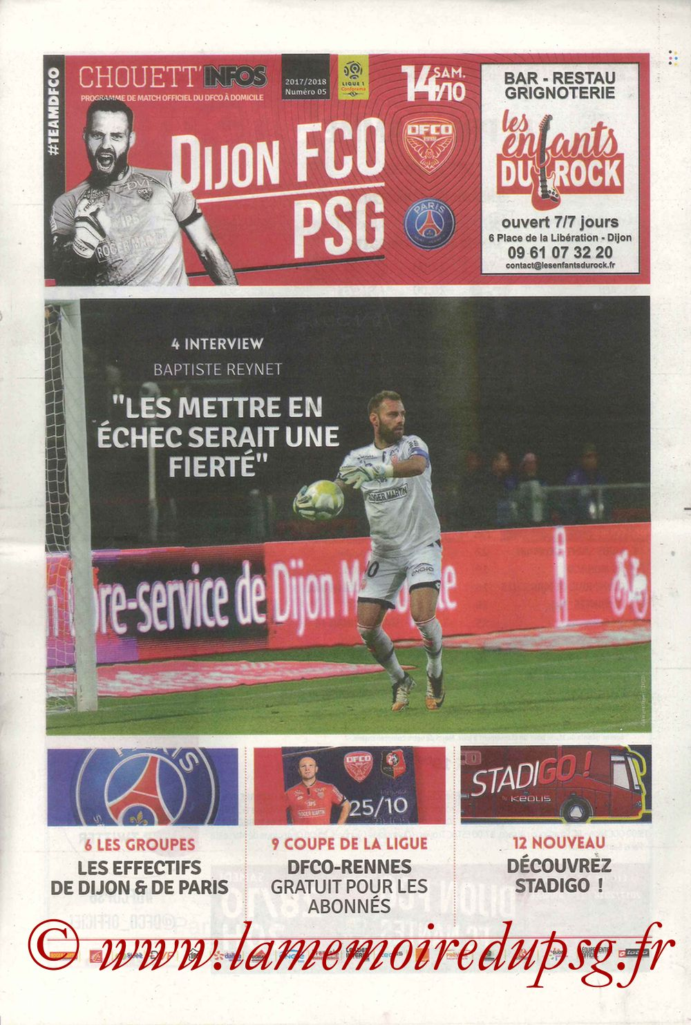 2017-10-14  Dijon-PSG (9ème L1, Chouett'Infos N°5)