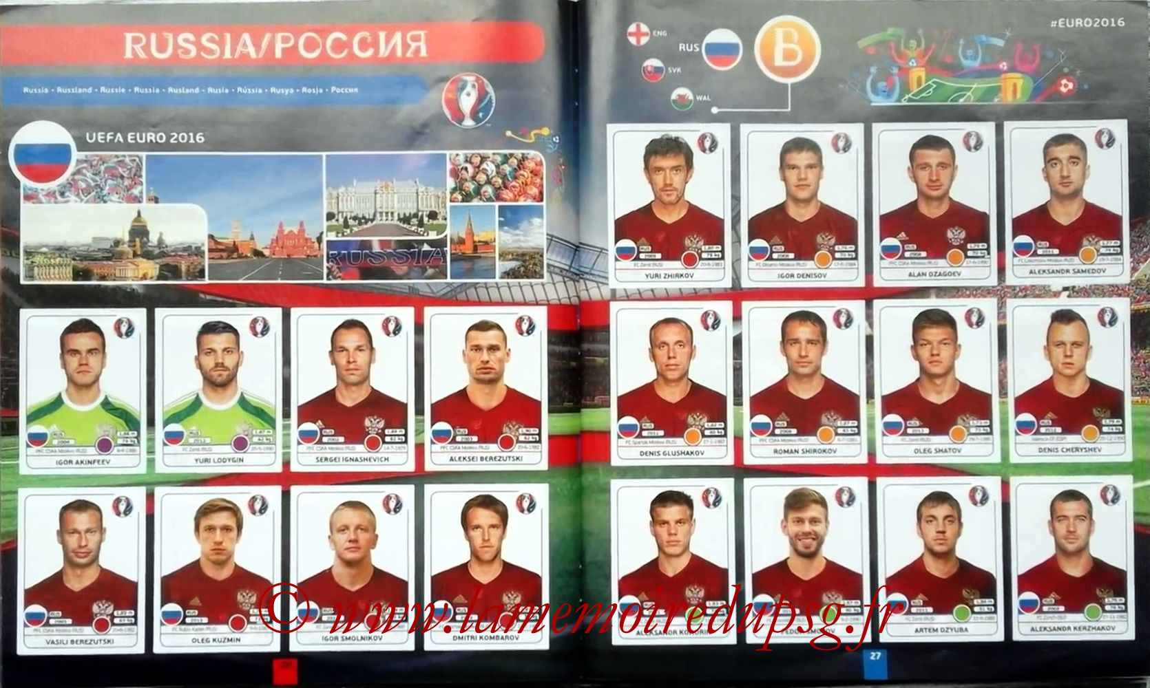 Panini Euro 2016 Stickers - Pages 26 et 27 - Russie