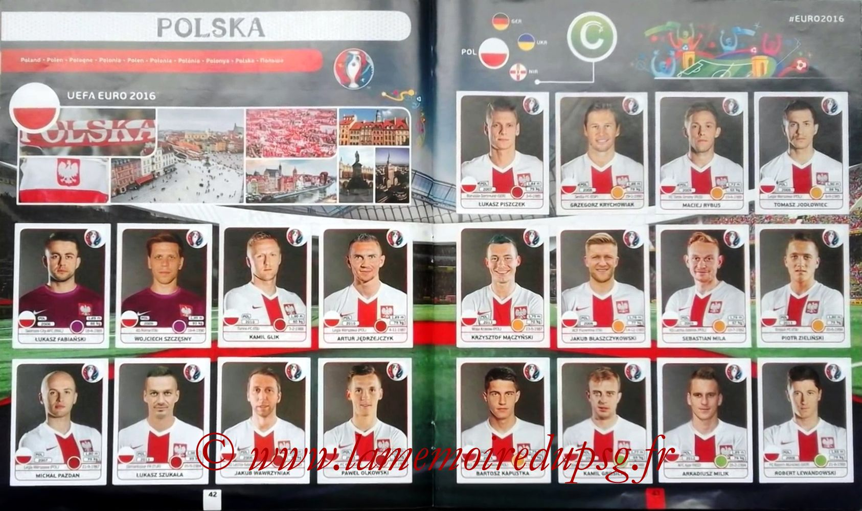 Panini Euro 2016 Stickers - Pages 42 et 43 - Pologne