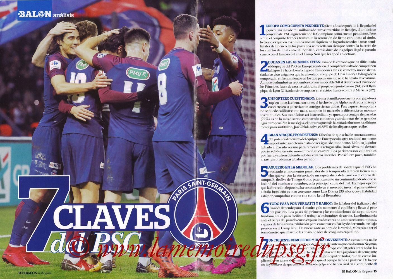 2018-02-14  Real Madrid-PSG (8ème Aller C1, El Balon in the game N°47) - Pages 14 et 15