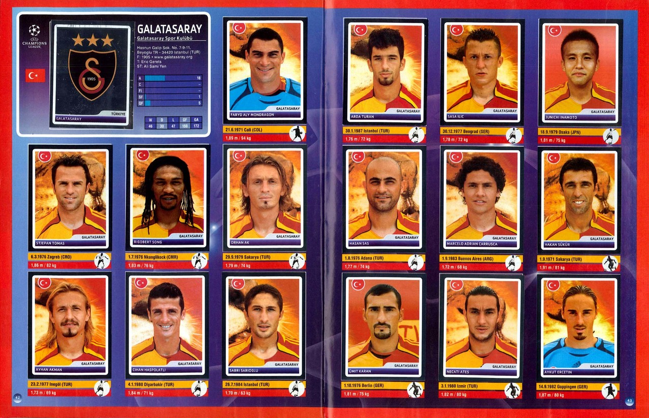2006-07 - Panini Champions League - Pages 42 et 43 - Galatasaray SK