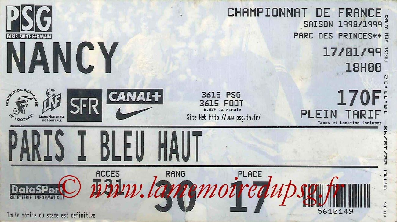 1999-01-17  PSG-Nancy (21ème D1)