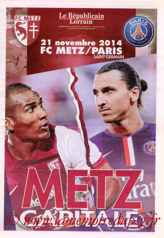 2014-11-21  Metz-PSG (14ème L1, Supplément Le Républicain Lorrain )