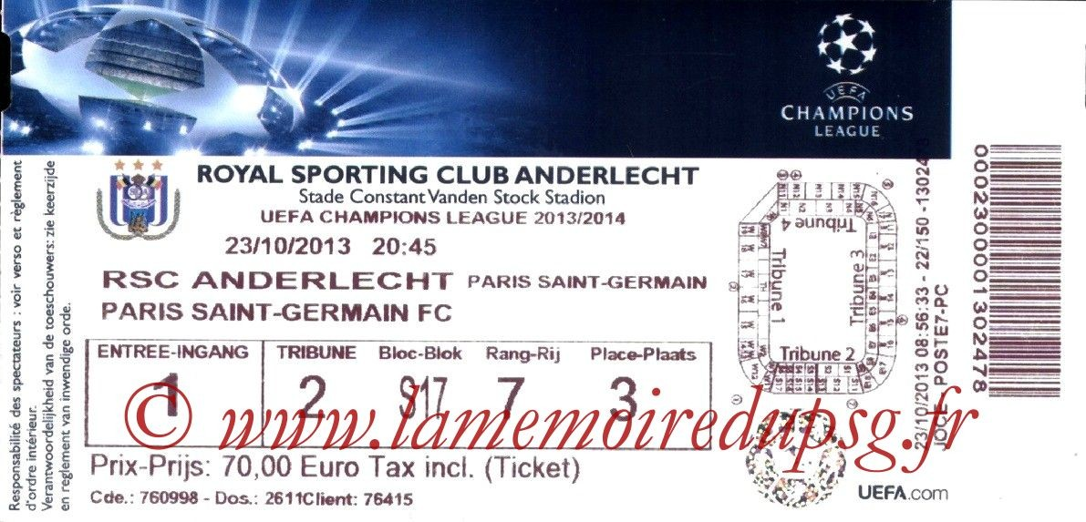 2013-10-23  Anderlecht-PSG (3ème Poule C1)