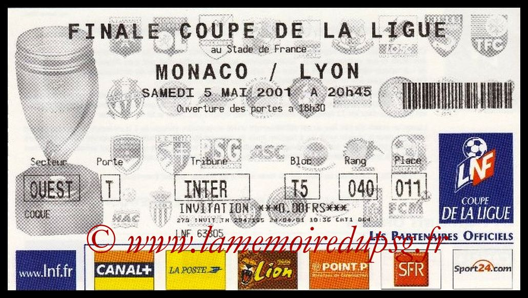Ticket Finale CL N° 07 - 2001-05-05 - Monaco-Lyon (Stade de France)