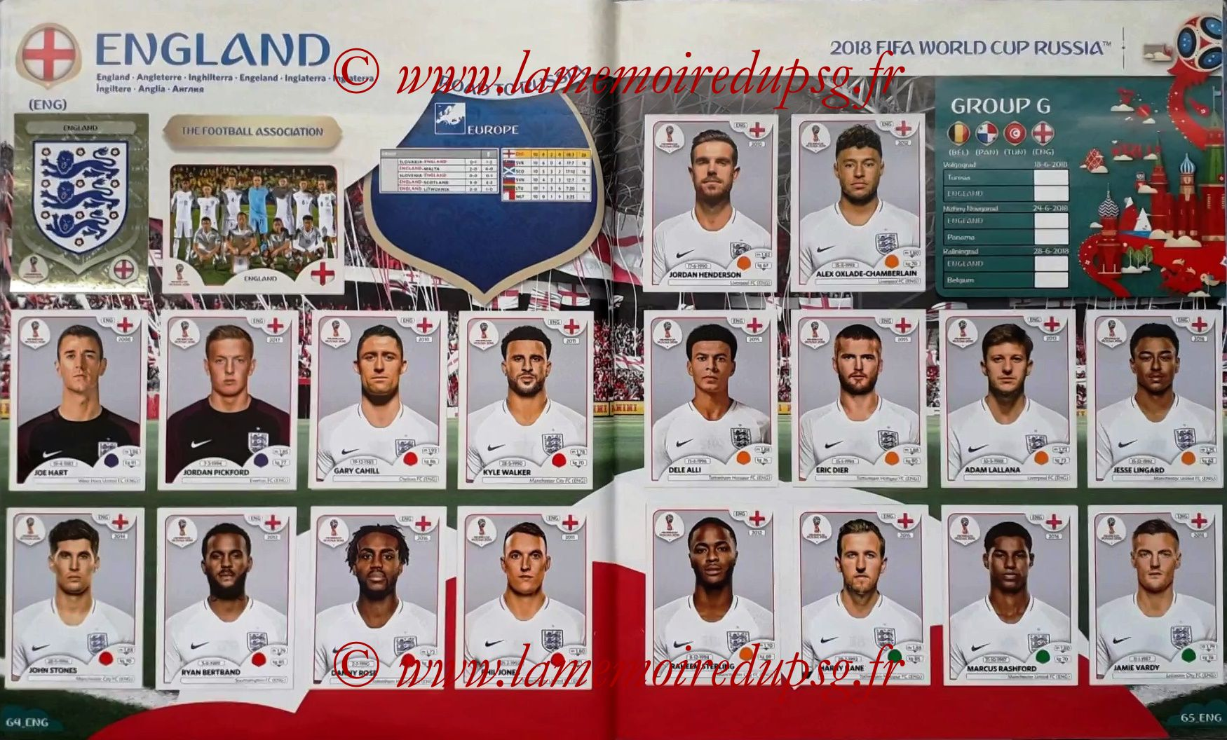 2018 - Panini FIFA World Cup Russia Stickers - Pages 64 et 65 - Angleterre