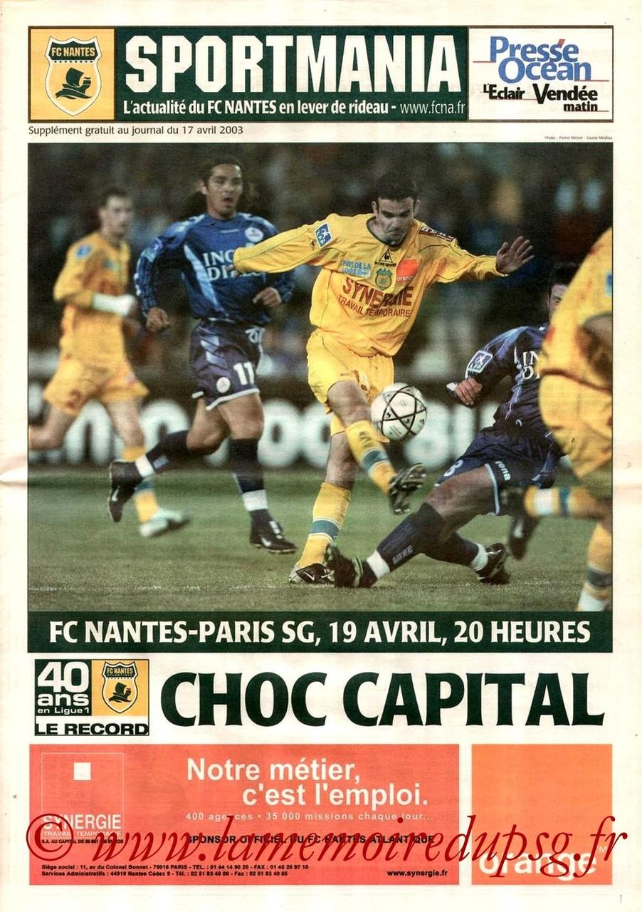 2003-04-17  Nantes-PSG (34ème D1, Sportmania)