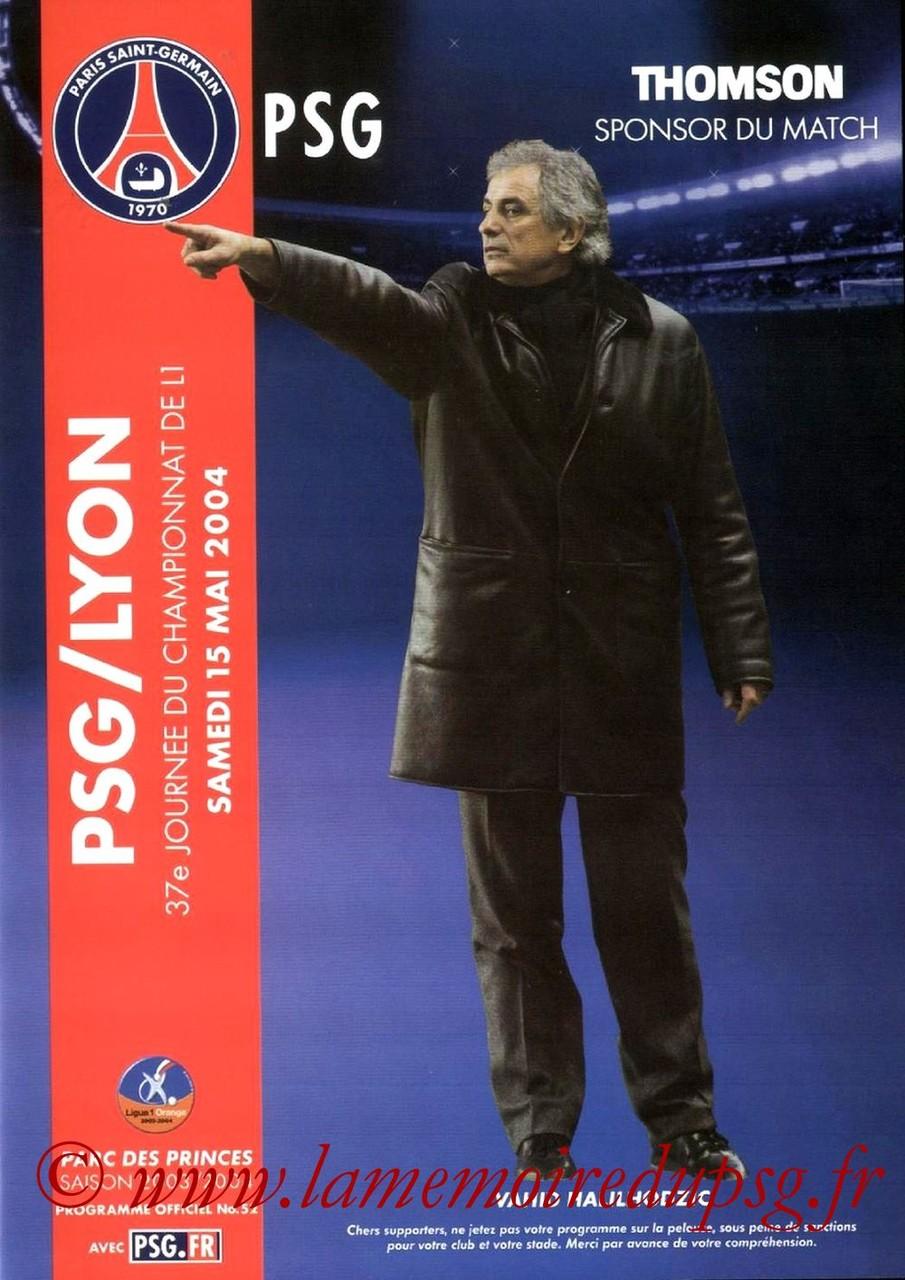 2004-05-15  PSG-Lyon (37ème D1, Programme officiel N°52)
