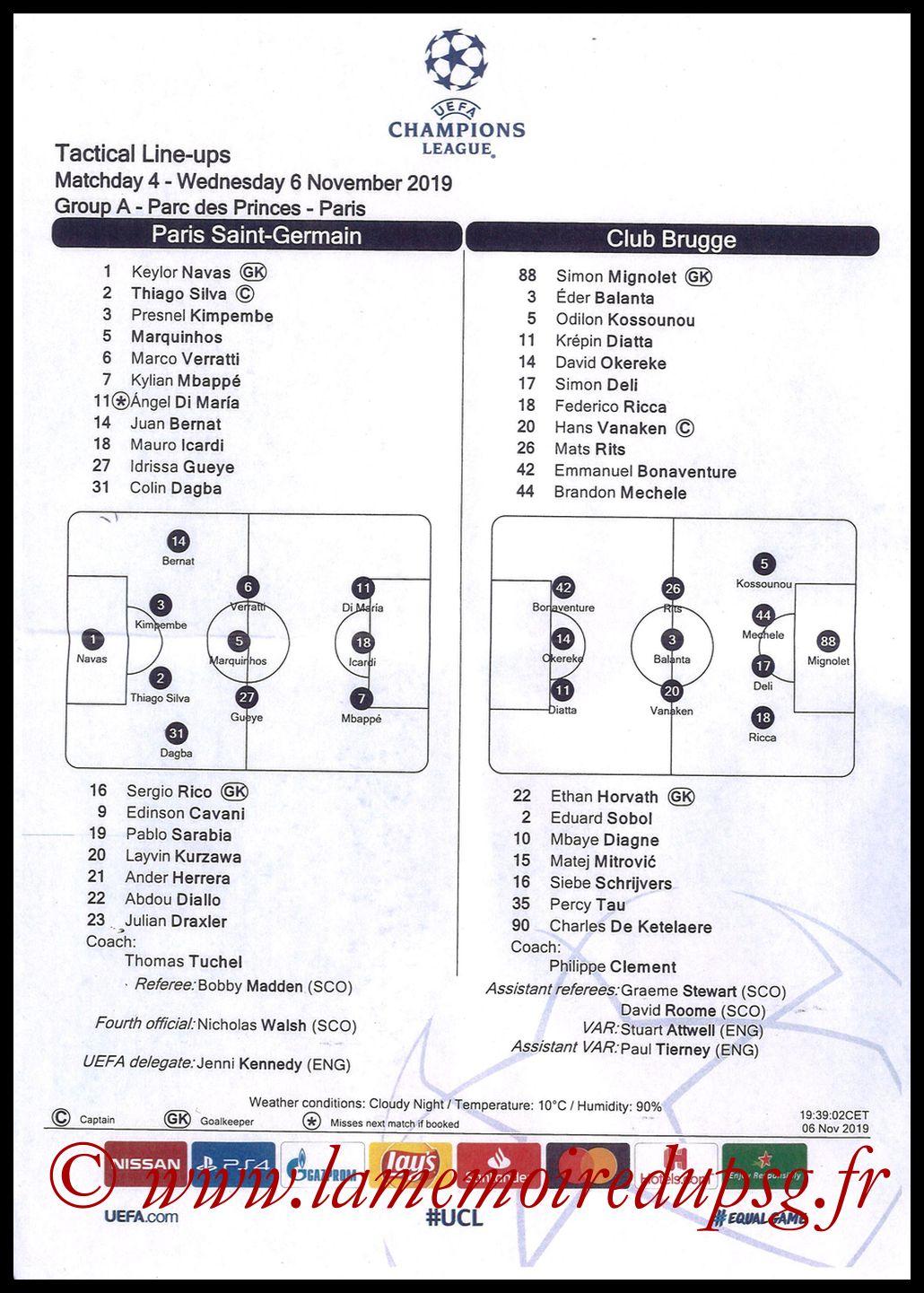 2019-11-06  PSG-Bruges (4ème L1, Feuille de match)