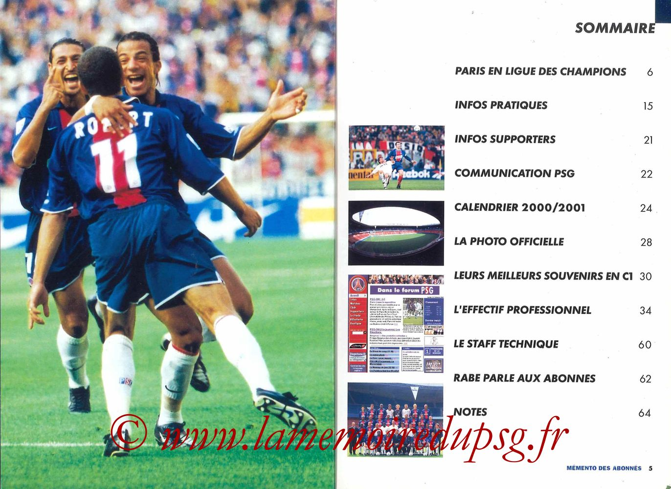 2000-01 - Guide de la Saison PSG - Pages 04 et 05