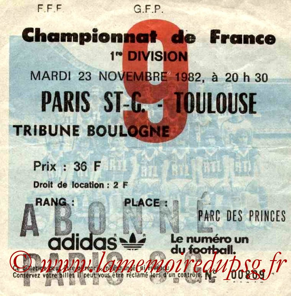 1982-11-23  PSG-Toulouse (16ème D1, Ticket N°9)