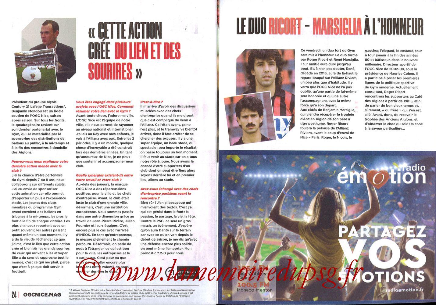 2019-10-18  Nice-PSG (10ème L1, OGCNice Mag N° 333) - Pages 24 et 25
