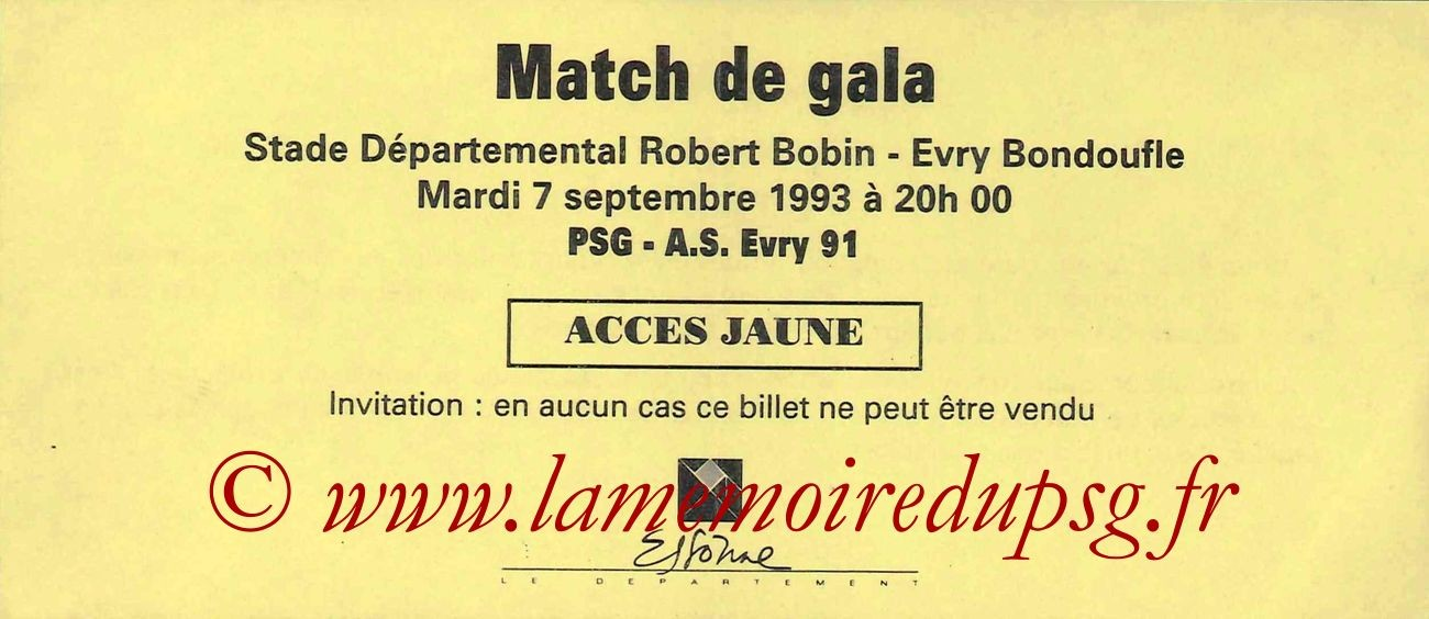1993-09-07  PSG-AS Evry 91  (Amical à Evry Bondoufle, Invitation)