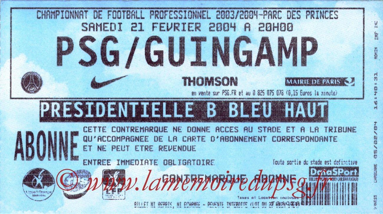 2004-02-21   PSG-Guingamp (25ème L1)