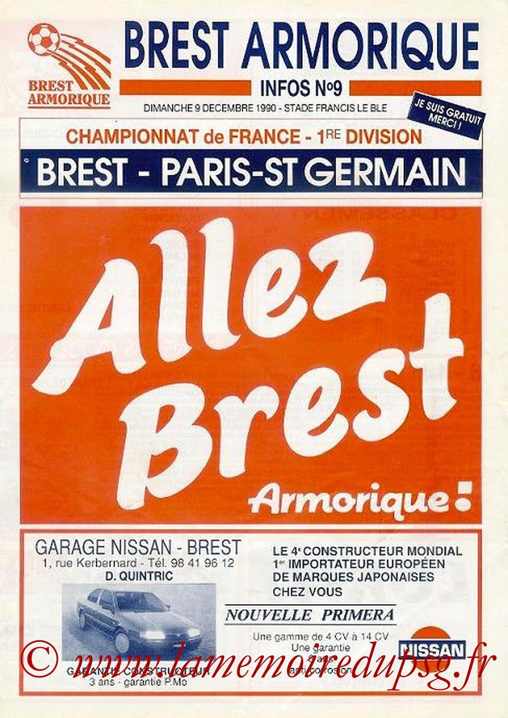 1990-12-09  Brest-PSG (19ème D1, Match annulé, Allez Brest N° 9, Collection LG)