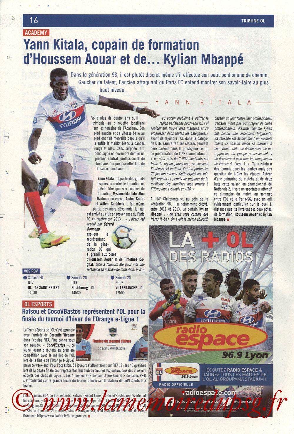 2018-01-21  Lyon-PSG (22ème L1, La Tribune OL N° 244) - Page 16