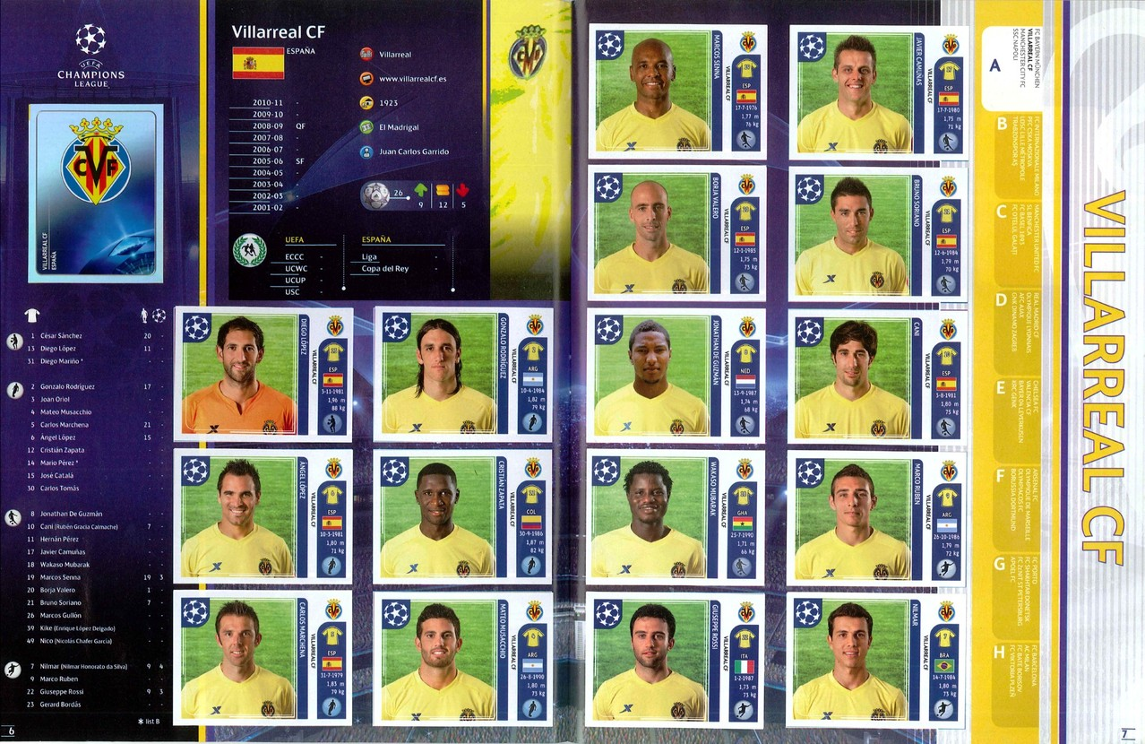 2011-12 - Panini Champions League - Pages 06 et 07 - Villarreal CF