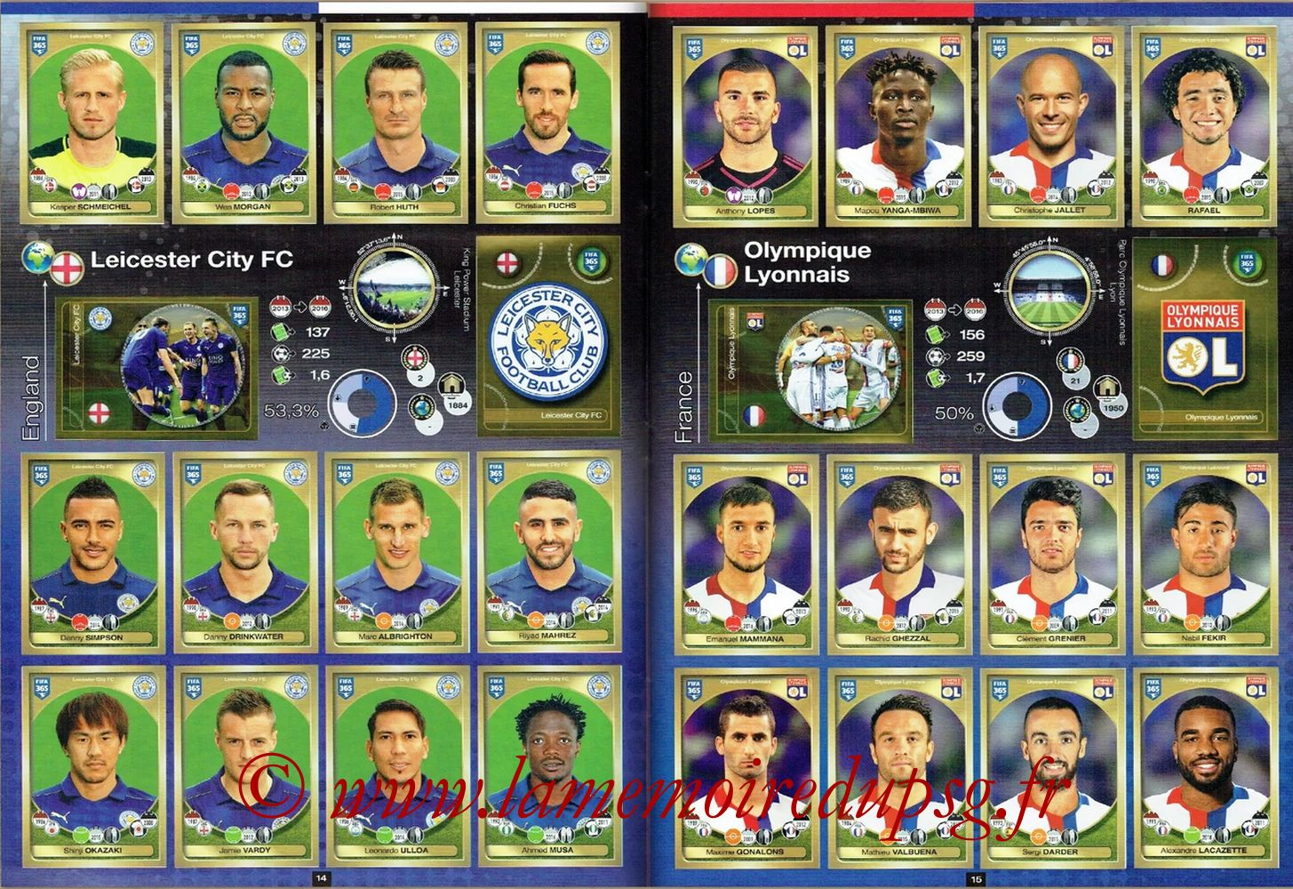 2016-17 - Panini FIFA 365 Stickers - Pages 14 et 15 - Leicester City FC + Olympique Lyonnais