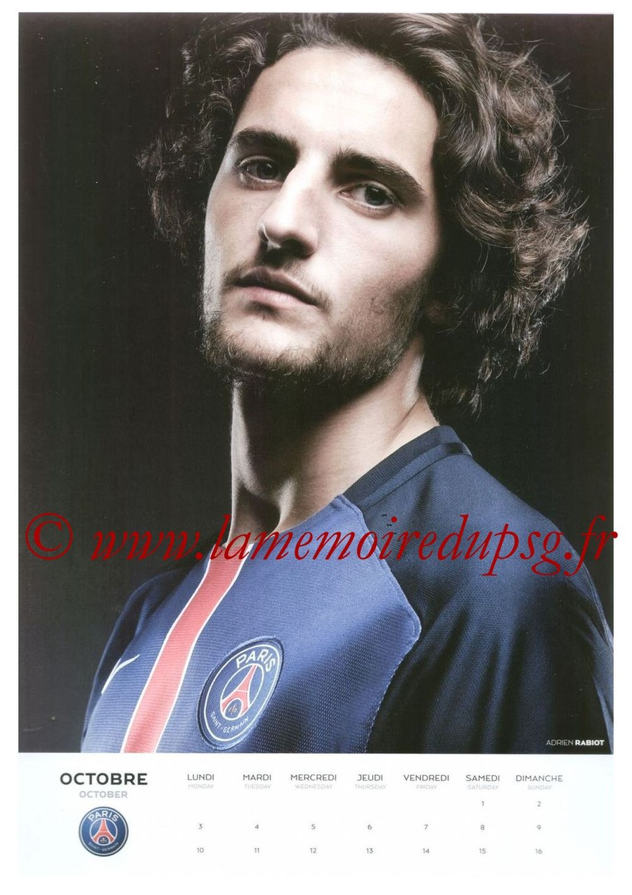 Calendrier PSG 2016 - Page 19 - Adrien RABIOT