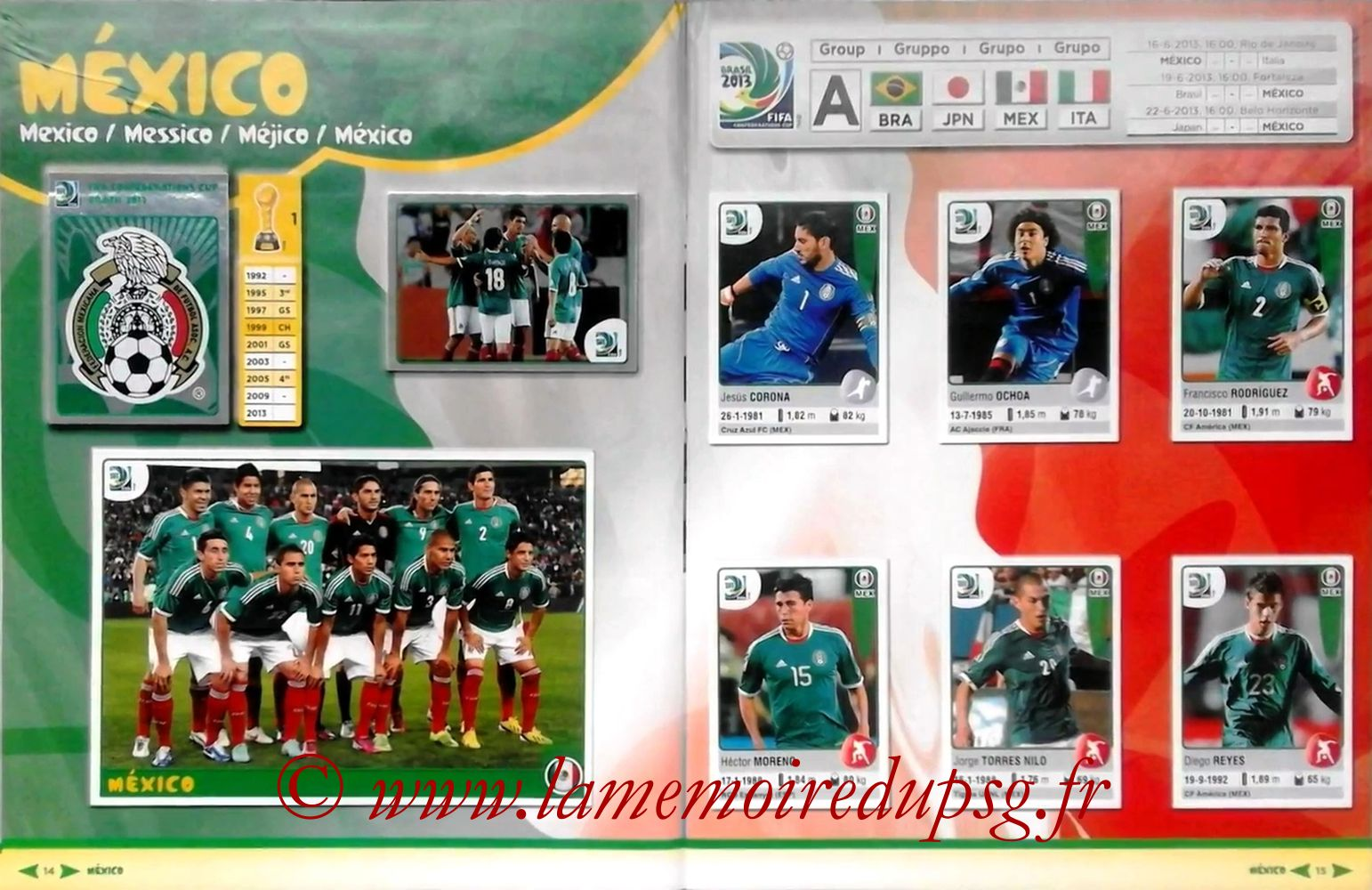 2013 - Panini Confederations Cup Brasil Stickers - Pages 14 et 15 - Mexique