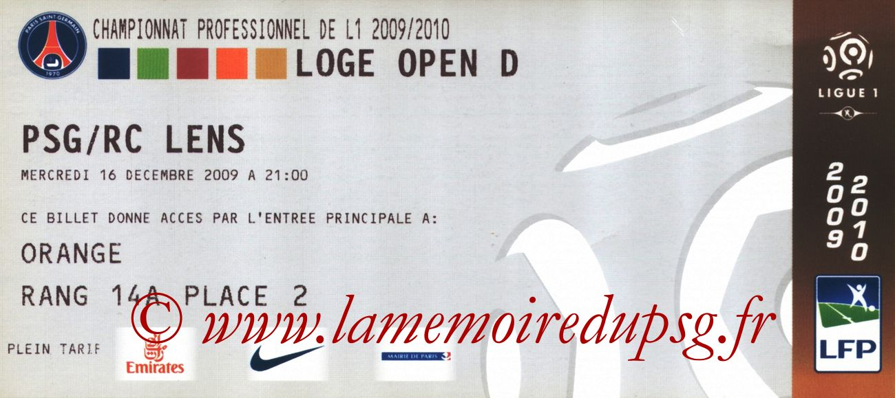2009-12-16  PSG-Lens (11ème L1 en retard, Loge)