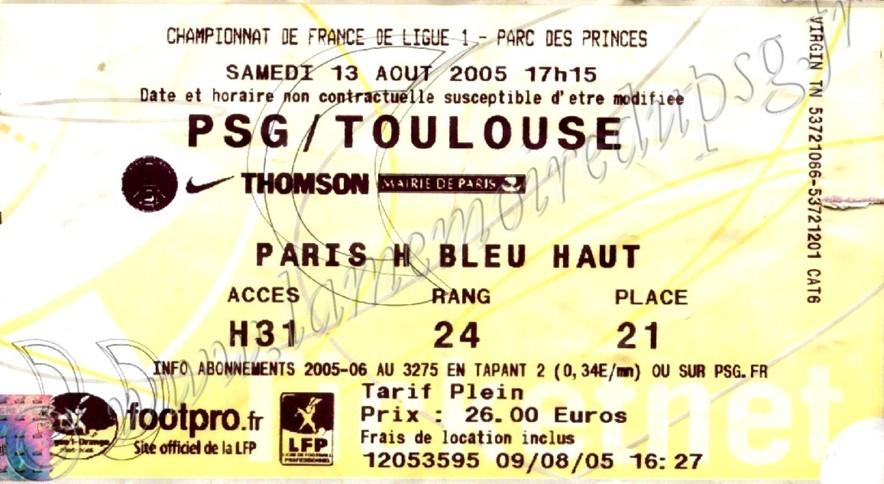 2005-08-13  PSG-Toulouse (3ème L1, Ticketnet)