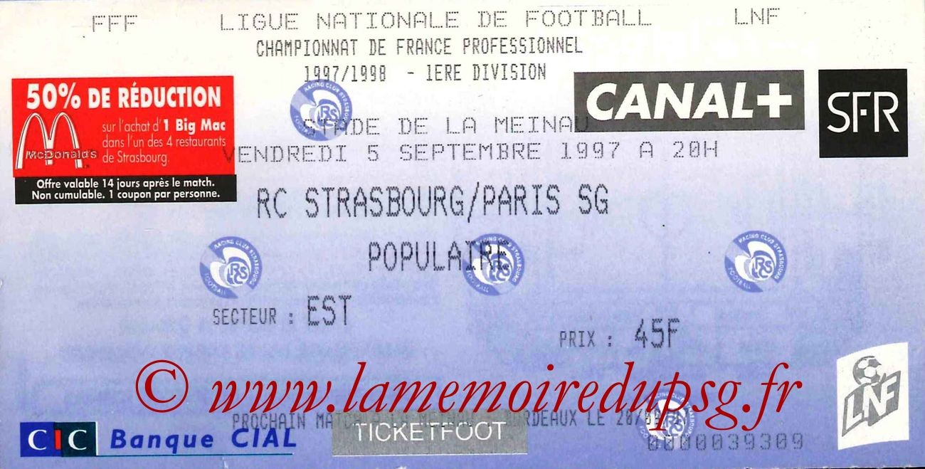 1997-09-05  Strasbourg-PSG (6ème D1)