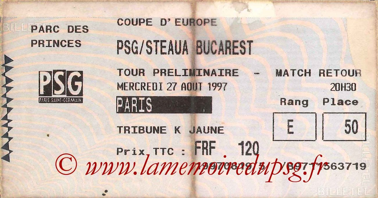 1997-08-27  PSG-Steua Bucarest (Tour préliminaire Retour C1, Billetel)