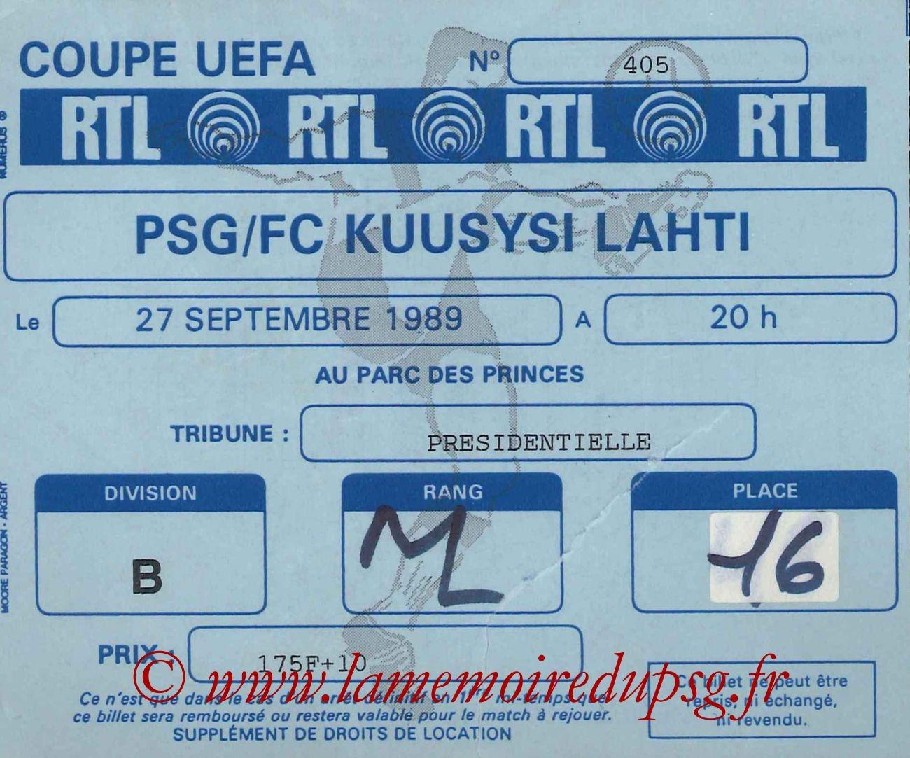 1989-09-27  PSG-Kuusysi Lahti (32ème Retour C3, bis)